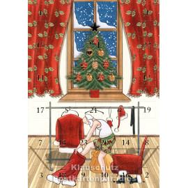 ActeTre Doppelkarte Adventskalender mit Weihnachtsmann beim Ankleiden