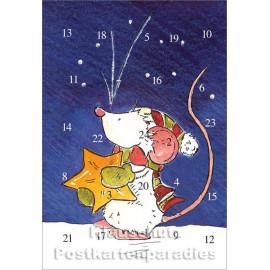 Tilda mit Stern - Rannenberg Adventskalender Doppelkarte
