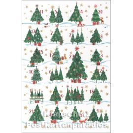 Taurus Postkarten Adventskalender | Doppelkarte mit Klapptürchen - Weihnachtsbäume