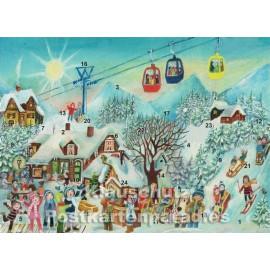 Seilbahn und Kinder im Schnee - Nostalgie Adventskalender Doppelkarte
