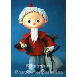 Postkarte - Das Sandmännchen aus dem Ostfernsehen mit seinem Sandsack