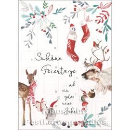 Doppelkarte Adventskalender  - Schöne Feiertage mit Tieren mit Weihnachtsmützen