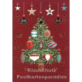 ActeTre Doppelkarte Adventskalender  - Festlicher Weihnachtsbaum