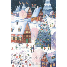 Taurus Postkarten Adventskalender | Doppelkarte mit Klapptürchen - Winterdorf
