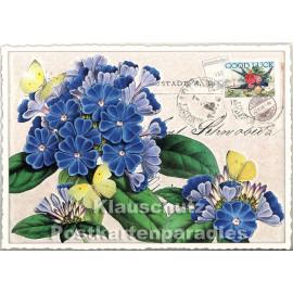 Retro Glitterkarte aus der Edition Tausendschön | Blumen - Primel