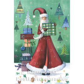 Taurus Postkarten Adventskalender | Doppelkarte mit Klapptürchen - Weihnachtsfrau