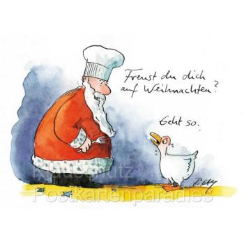 Peter Gaymann Postkarte Weihnachten mit Gans und Weihnachtsmann - Freust du dich auf Weihnachten?