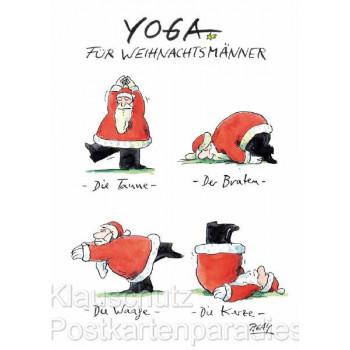 Yoga für Weihnachtsmänner - Peter Gaymann Weihnachtskarten Postkarten Weihnachten von Discordia