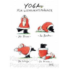 Yoga für Weihnachtsmänner - Peter Gaymann Weihnachtskarten Postkarten Weihnachten