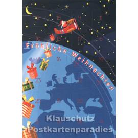 Taurus Postkarten Adventskalender | Doppelkarte mit Klapptürchen - Fröhliche Weihnachten in 24 Sprachen