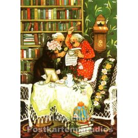 Taurus Postkarte von Inge Löök - Alte Frauen singen Lieder beim Kaffeekränzchen