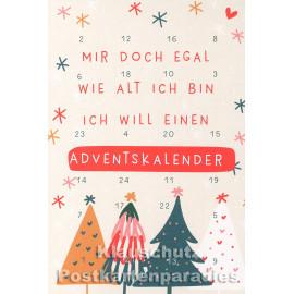 Taurus Postkarten Adventskalender | Doppelkarte mit Klapptürchen - Ich will einen Adventskalender