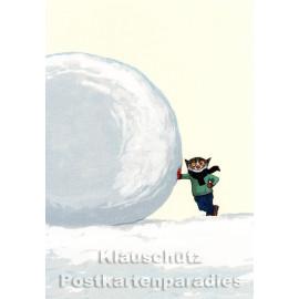 Postkarte von Wolf Erlbruch aus dem Peter-Hammer-Verlag - Schneeball