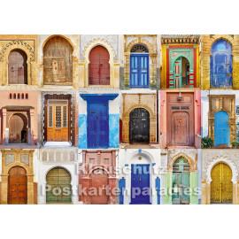 Postkartenparadies Foto Postkarte | Marokkanische Türen