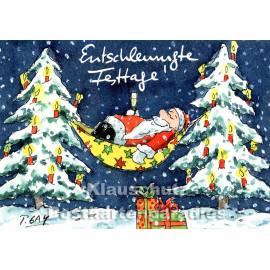Entschleunigte Festtage | Weihnachtskarte von Peter Gaymann mit dem Weihnachtsmann in der Hängematte