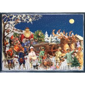 Schöne nostalgische Doppelkarte aus dem Sellmer Verlag zu Weihnachten mit dem Weihnachtsmann