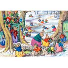 Tierische Weihnachten Doppelkarte - Schneevergnügen mit Hasen und Igeln