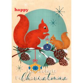 Retro Weihnachtskarte  mit Eichhörnchen von Bizarr - Happy Christmas