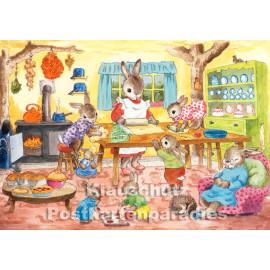 Backtag bei Familie Hase | Taurus Kinder Postkarte von Jean Gilder