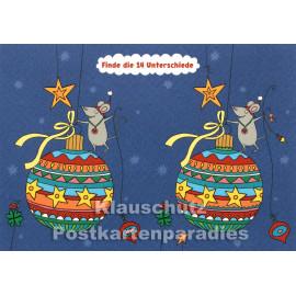Weihnachtskugel Rätsel mit kleiner Maus - Finde die 14 Unterschiede - SkoKo Wimmelbild Postkarte