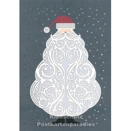 Doppelkarte mit Lasercut-Stanzung von ActeTre / Quire - Weihnachtsmann Bart