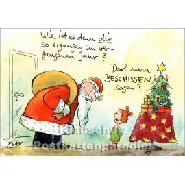 Peter Gaymann Weihnachtskarte mit dem Weihnachtsmann und einem kleinen Mädchen und einem Weihnachtsbaum