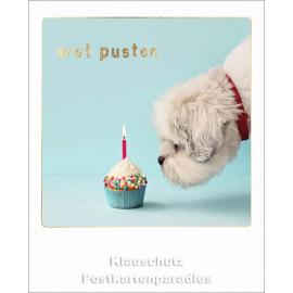 Cityproducts Happymemories Geburtstag Postkarte - Erst pusten | Mit goldfarbener Lackierung