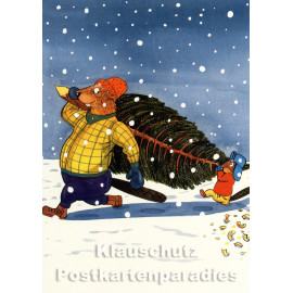 Postkarte von Leonard Erlbruch aus dem Peter-Hammer-Verlag - Baumtransport mit zwei Bibern im Schnee