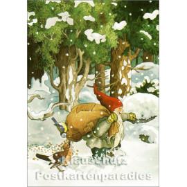 Inge Löök Weihnachtskarte   Wichtel mit Vögeln im Schnee
