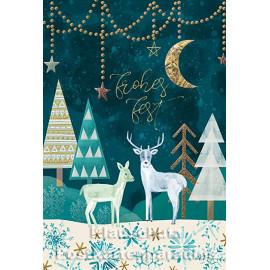 Doppelkarte zu Weihnachten mit goldfarbener Lackierung   Frohes Fest   Tiere im Winterwald