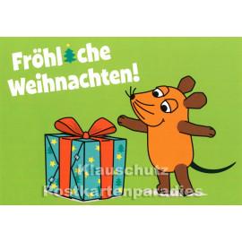 Weihnachtskarte   Die Maus (vom WDR) mit großem Weihnachtsgeschenk mit roter Schleife