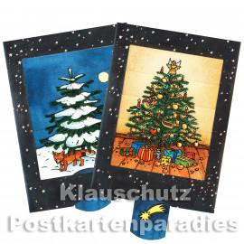 Fuchs und Weihnachtsbaum   Lebende Karte mit Lasche zum Ziehen, wodurch sich das Bild ändert