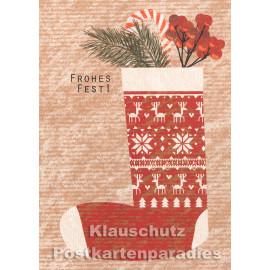 Holzschliffpappe Postkarte von Blankensteyn zu Weihnachten mit Nikolausstiefel  - Frohes Fest