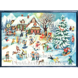 Nostalgische Doppelkarte aus dem Sellmer Verlag zu Weihnachten - Schneevergnügen mit Kindern auf Skiern.