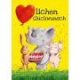 Geburtstagskarte: Herzlichen Glückwunsch - Elefant, Hase und Schweinchen gratulieren herzlich mit Luftballon und Geburtstagstort