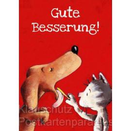 Kinderkarte mit Hund und Katze - Gute Besserung! Postkarte von Thomas Röhner