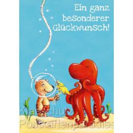 Geburtstagskarte: Krake und Bär - Ein ganz besondere Glückwunsch! Postkarte von Thomas Röhner