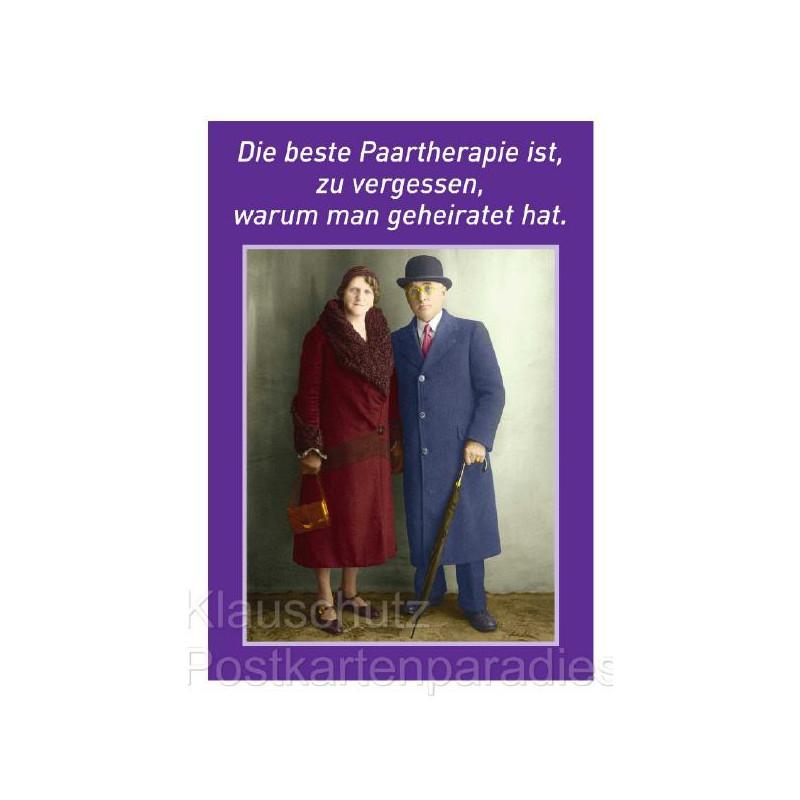 Hochzeitskarte Postkarte von Discordia: Die beste Paartherapie ist, zu vergessen, warum man geheiratet hat.