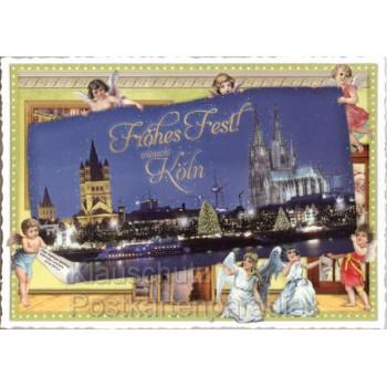 Nostalgische regionale Köln Weihnachtskarte mit Rhein und Dommit n