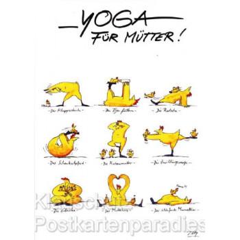 Peter Gaymann Comic Postkarte mit Hühnern - Yoga für Mütter!
