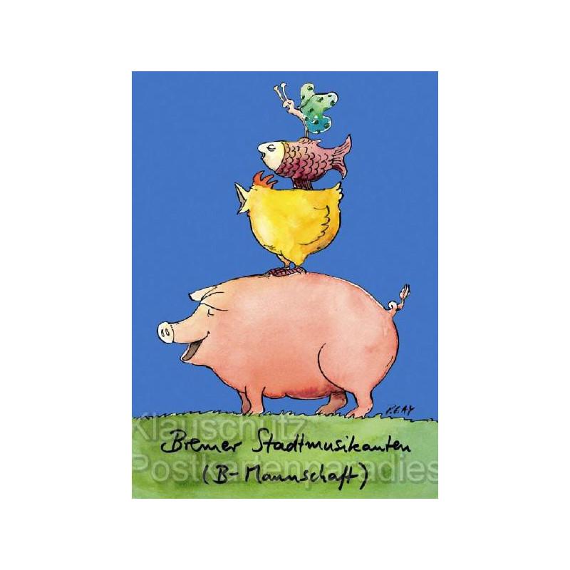 Discordia Postkarte von Peter Gaymann: Bremer Stadtmusikanten (B-Mannschaft)