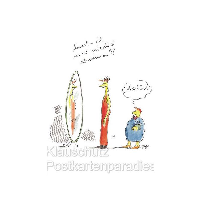 Peter Gaymann Comic Postkarte | Ich muss unbedingt abnehmen - Arschloch!