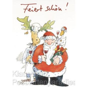 Feiert schön! Peter Gaymann Weihnachtskarte mit Elch, Gans und dem Weihnachtsmann