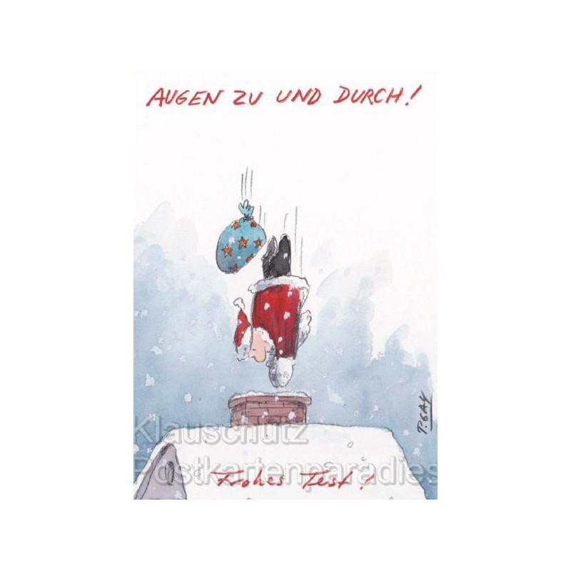 Discordia Peter Gaymann Weihnachtskarte Postkarte - Augen zu und durch! Frohes Fest!