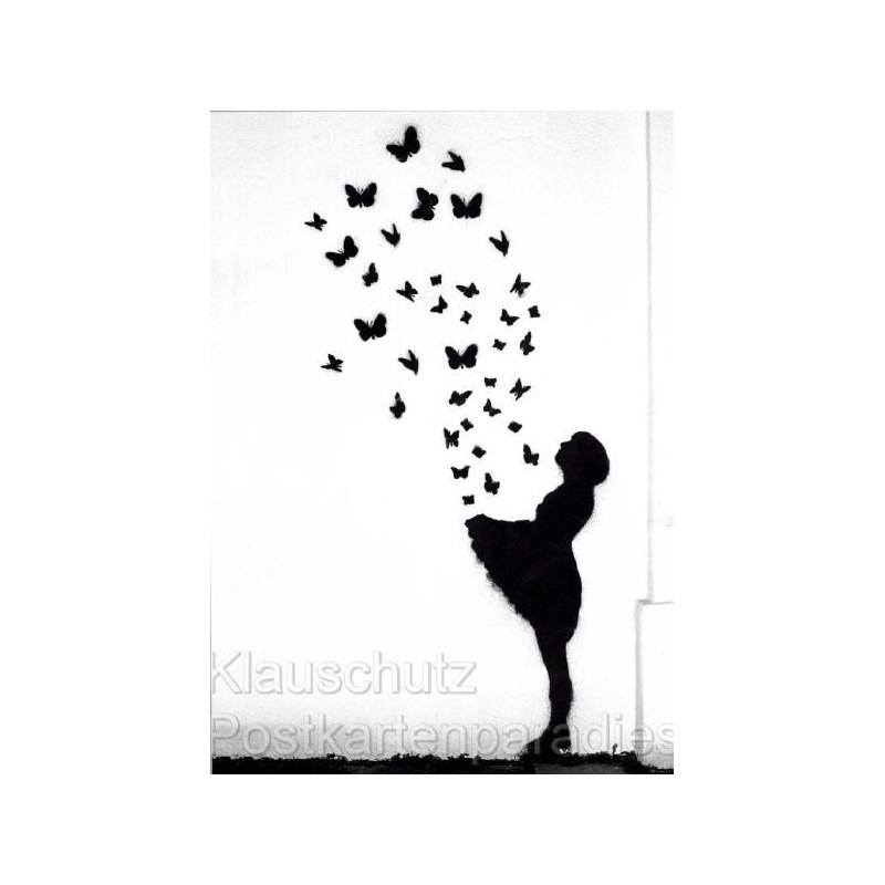 Graffiti Fotokarte Postkarte - Mädchen und Schmetterlinge