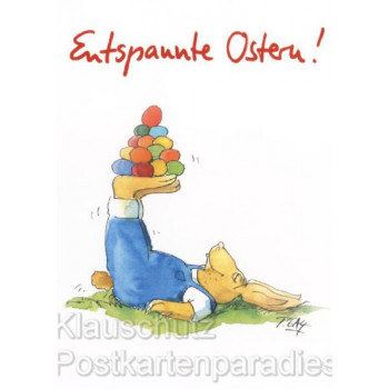 Peter Gaymann - Entspannte Ostern Osterhase Postkarte