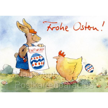 Peter Gaymann Postkarten |Osterhase und Huhn - Frohe Ostern