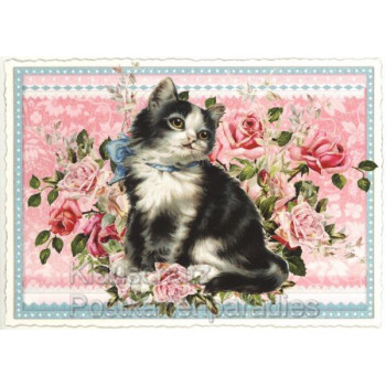 Nostalgische Retro Postkarte von ACTEtre mit Katze