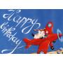 Happy Birthday Kinderkarte Hund im Flugzeug - Geburtstagskarte von Thomas Rhöner