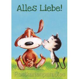 Thomas Röhner Postkarte - Alles Liebe! Hund und Katze